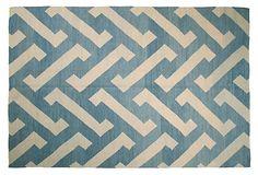 "6'6""x9'9"" Egyptian Kilim, Blue/Ivory Blue Ivory, Blue And White, Art Deco Movement, Rugs On Carpet, Carpets, Pattern Wallpaper, Scandinavian Design, Floor Rugs, Kilim Rugs"