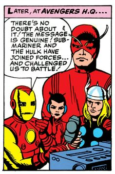 The Avengers prepare for battle (issue #3, January '64)