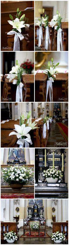 Dekoracja ołtarza / Dekoracja ław / Dekoracja Kościoła / Eleganckie białe dekoracje Kościoła od FollowMe DESIGN / Elegant White Church Decorations & Details by FollowMe DESIGN