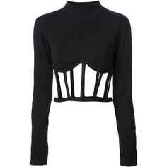 JEAN PAUL GAULTIER VAULT cage top ($2,338) ❤ liked on Polyvore featuring tops, shirts, crop tops, black, black top, long sleeve crop top, corset shirt, long sleeve tops and black corset top