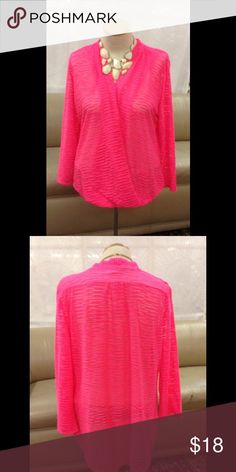 "Crossover Hi-Low Plus Size Top Neon fuchsia top, hi front, low back. 3/4 sleeves. Burnout look fabric. Front crossover with concealed snap. Bust measurements are as follows: 1X bust 44"", 2X bust 46"", 3X bust 48"". NWT. JA JA Tops Blouses"
