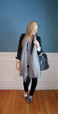 Outfitted411: Casual Friday...black blazer, black denim, silver Forever 21 loafers, stripes and polka dots