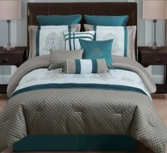 Panache Bedding: Teal Green Taupe Gray White Embroidered 10 Pc King Queen Comforter Bedding Set
