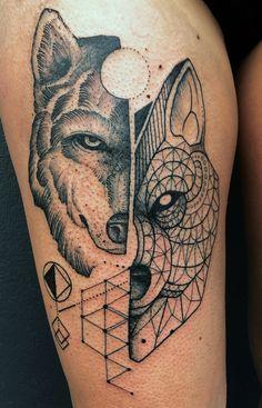 multidimensional ~ geometric ~ wolf tattoo Nicholas Koster // Lygon St Tattoo