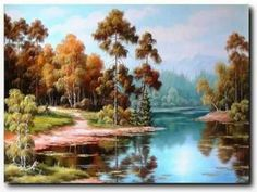 Ung folyó vidéke (Ung the river region) River Painting, Fall River, Environmental Art, Hungary, Landscape Paintings, Original Art, Gallery, Water, Youtube
