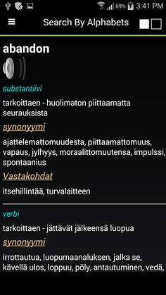 Offline English Finnish Dictionary cum Thesaurus with pronunciation has containing over 150000 words with their antonyms and synonyms and their usage as adjective ,verb , adverb or as a noun .<p>Features <br>- Audio Pronunciation of English Words Also Available in the this finnish dictionary .Listen to the correct pronunciation in English of words (*Requires Internet )<br>- Shows a distinction of synonyms and antonyms as per its type i.e adjective , noun , verb etc .<br>- Ideal for use in…