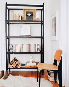 Our Chloé Étagère beautifully styled in the home of 🙌🏻💕 We love the way it pairs with Josh's fabulous artwork and antique collection. Etagere Bookcase, Ladder Bookcase, Affordable Art, Minimalist, House Design, Shelves, Interior Design, Storage, Home Decor