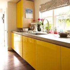 cool yellow cabinetry