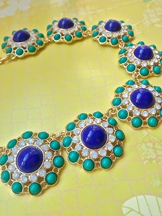 Precious Cluster Beaded Necklace & Earring Set Blue/Green