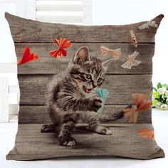 Creative 3D Cartoon Cat Folding Paper Printed Cotton And Linen Digital White Cushion Pillow High Quality Office Sofa Cushion