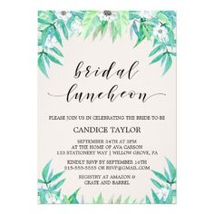 BRIDAL LUNCHEON LUNCH Chic & Pretty Tropical Greenery Botanical Floral Flower Bridal Luncheon Invite Announcement Invitation Card