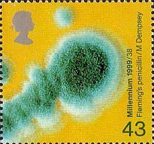 Millennium Series. The Patients's Tale 43p Stamp (1999) Penicillin Mould (Fleming's discovery of penicillin)