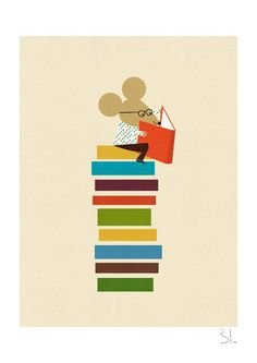The library mouse print    Printed with pigment inks on archival matte paper (200 gr)    Print measures about 8 x 11.5 (A4) including a white border