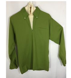 Vintage Shirt Men's Olive Green Pullover with Cream Dickie and Pocket Mid Century Fashion 60's Men's Hipster Fashion by OffbeatAvenue on Etsy