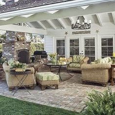 Inviting Outdoor Living Spaces ... Love this covered patio!
