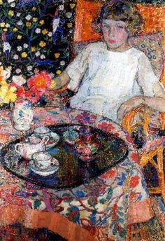 Little Girl at the Table - Leon de Smet