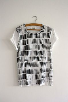 Shirt   handprinted  white  grey  Stripes by thingslikediamonds