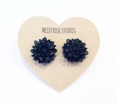 Black Dahlia Earrings, Black Mum Earrings, Flower Cabochons, Silver Post Earrings, Stud Earrings, Flower Earrings, Lucite Earrings by MissyRoseStudios on Etsy https://www.etsy.com/listing/511407047/black-dahlia-earrings-black-mum-earrings