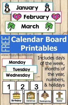 REE Calendar Board Printables
