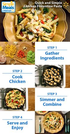Looking for a delicious midweek meal that you can throw together in less than 30 minutes? This Chicken Florentine Pasta recipe from the Pioneer Woman is mouth-wateringly yummy AND super-easy to make. It's a perfect blend of savory Italian flavors like garlic and Parmesan with super-satisfying pasta, chicken, spinach and tomatoes. Try this recipe and other great Simple Meals from Walmart now.