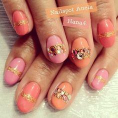 Pretty Pinks and Jeweled Spring Summer Nails #nailart