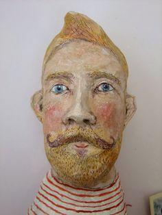 Papier-mâché sailor's head by Emily Warren