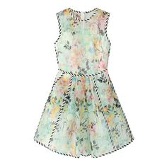 Watercolour Garden Sleeveless Dress ($33) ❤ liked on Polyvore featuring dresses, floral, watercolor dress, circle skirt, floral mini dress, green sleeveless dress and green mini dress