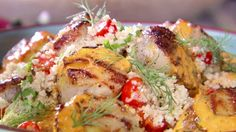 Sea Scallops with Cracked Wheat Salad, Roasted Red Pepper Tahini Vinaigrette and Grilled Lemons Recipe : Bobby Flay : Food Network Grilled Sea Scallops, Cracked Wheat, Roasted Red Peppers, Just Cooking, Lemon Recipes, Tahini, Fish And Seafood, Food Preparation, Vinaigrette