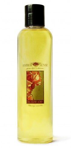 Ambersense 100% Natural Body oil Cherry 250ml Shampoo, Perfume Bottles, Oil, Natural, Cherry, Strawberry, Beauty, Strawberry Fruit, Beauty Illustration