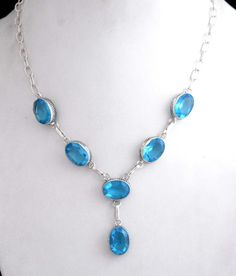 Vintage Look Necklace Fashion Jewelry With Blue Quartz <br> Metal : Silver…