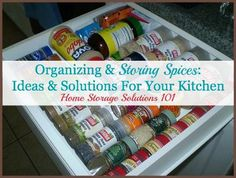 Ideas for organizing and storing spices, with before and after pictures, from participants in the 52 Week Organized Home Challenge {on Home Storage Solutions 101}
