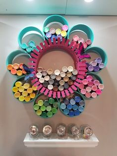 """DIY Craft Paint Storage: My Pretty PVC """"Wallflower"""" Organizer - One of my favorite things that I have made for my craft room is the pretty wall flower paint organi - Craft Paint Storage, Paint Organization, Pvc Storage, Craft Room Organizing, Acrylic Paint Storage, Gift Bag Storage, Ribbon Storage, Vinyl Storage, Studio Organization"""