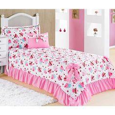 Colcha Solteiro Padrão Laila 3 Peças com Almofada - Cupcake Purple Bedding Sets, Comforter Sets, Bed Sets, Kawaii Bedroom, Cute Pillows, Bed Styling, Bedroom Sets, Bed Covers, Bed Spreads