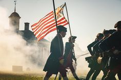 What's this? It's a still from an upcoming #colonialwilliamsburg commercial! It was shot just this morning on the Courthouse Green. We can't wait to show it to you (only a couple weeks!), and we can't wait to see you in the Historic Area. • If you haven't planned your next trip, what are you waiting for? Take time to go back! • • #colonialwilliamsburg #picofday #picoftheday #photography #photo #cannon #america #flag #courthouse #historic #historicarea #takeaday #planyourvacation