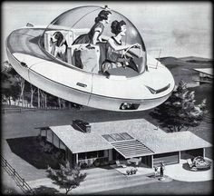 Unknown : Woman Driving Flying Saucer, illustration depicting an american mother and daughter arriving home from shopping in a futuristic spaceship, Vintage Advertisements, Vintage Ads, Retro Ads, 1950s Advertising, Weird Vintage, Vintage Glam, Ufo, New Retro Wave, Mothers Day Ad