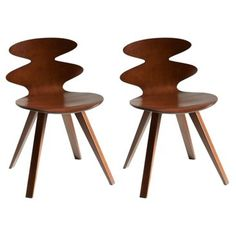 Check out this item at One Kings Lane! Walnut Rosie Plyshell Side Chairs, Pair