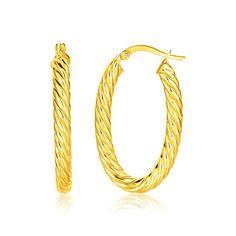 Ovala Creoler i 14K Gult Guld med Twist