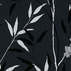 Ramsey Leaves Black  Embossed Silk Finish & Texture - Luxurious Satin Look
