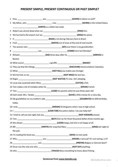 Present simple, present continuous or past simple 1 worksheet - Free ESL printable worksheets made by teachers Spanish Worksheets, English Grammar Worksheets, Reading Worksheets, English Vocabulary, Printable Worksheets, Free Printable, English Teaching Materials, Teaching English Grammar, Grammar Practice