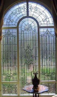 ♥♥leaded arched glass window