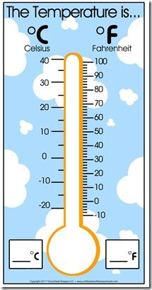 Thermometer on flipkart This would be a great lesson or tool to use in the classroom to show the differences in Celsius and Fahrenheit. Advanced students could calculate a given Celcius into F using this chart. Kindergarten Science, Teaching Math, Science Lessons, Science For Kids, Math U See, Temperature Chart, Weather Unit, Math Measurement, Calendar Time