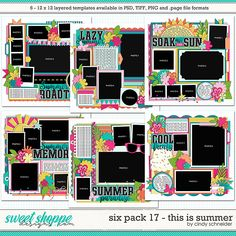 Cindy's Layered Templates - Six Pack 17: This is Summer by Cindy Schneider Photo Drop, First Day Of Summer, Summer Memories, Scrapbook Templates, Six Packs, Layout Template, Page Layout, Digital Scrapbooking, Fun Crafts