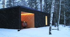 First built Atelier House in the winter. View of the garage. Prefabricated Houses, Being In The World, Experiential, Finland, Garage, Architecture, Building, Winter, Outdoor Decor