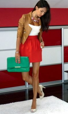 red skirt + camel jacket