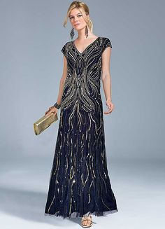 Together Beaded Maxi Dress. blue and gold. £150 sized 10-18