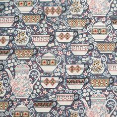 Gray China Set Cotton Poplin Print Fabric by the Yard | Mood Fabrics