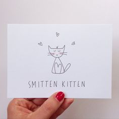 Anniversary Card. Hand illustrated I love you cat card - Smitten kitten