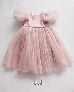 Blush Flower Girl Dresses, Dusty Rose Dress, Dusty Rose Color, Blush Flowers, Girls Dresses, Hair Wreaths, Dressing, Tulle Dress, Dress Making