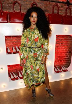 Kelis wears the jungle print dress from Gold Label AW14/15 to the Virgin Atlantic uniform launch party.
