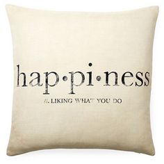 """Happiness"" 20x20 Pillow, White - Home decor (bedding pillow)"